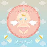 Cute Angel Baby with Milk Bottle