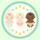 Multicultural babies sleeping.