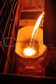 Molten metal poured