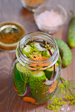 Pickled cucumbers, homemade preserved