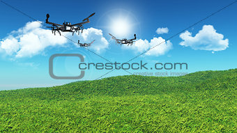 3D drones flying in a grassy landscape