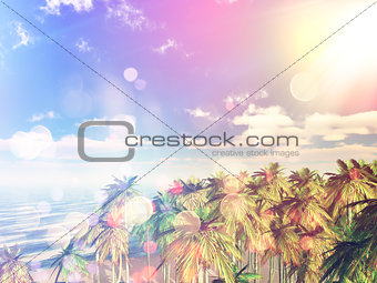 3D retro styled palm tree landscape