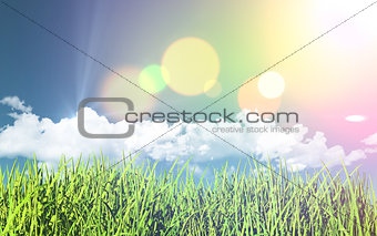 3D grassy landscape with retro effect