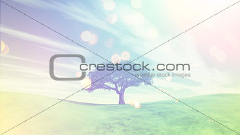 3D landscape with tree on green grass hills with retro effect