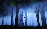 3D Halloween background of a skeleton in a foggy forest