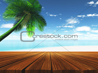 3D wooden deck with tropical beach in background