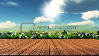 3D wooden table with daisies, grass and hills in the background