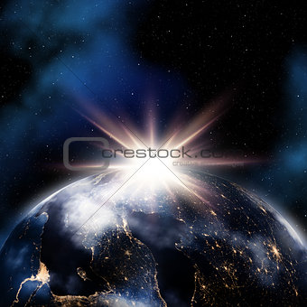 Abstract space background with night lights on Earth