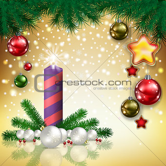 Abstract greeting with candle and decorations