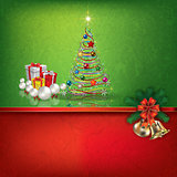 green red greeting with Christmas decorations