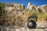 heavy iron kettlebell with tumbelweed
