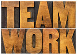 teamwork word in wood type
