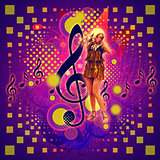Music background with girl