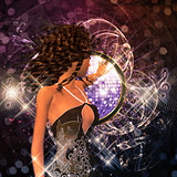 Music poster with brunette girl