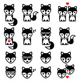 Fox cute character icons, wildlife concept
