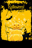 Grungy Halloween Party Card with Pumpkin and Haunted House