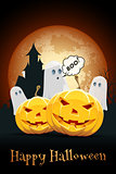 Halloween Background with Haunted House, Pumpkins and Ghosts
