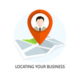 Location Icon. Locating Your Business. Flat Design.