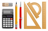 School tools for learning, pencil, pen, calculator, rulers and rubber