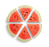 Watermelon cut into six segments