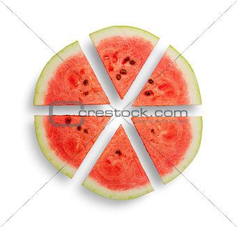 Watermelon cut into six segments