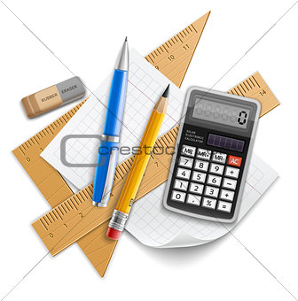 Tools set for education, pencil, pen, calculator, rulers and rubber