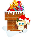 Christmas owl on chimney with gifts