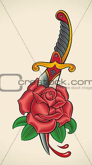 Old-school tattoo - Dagger through Rose