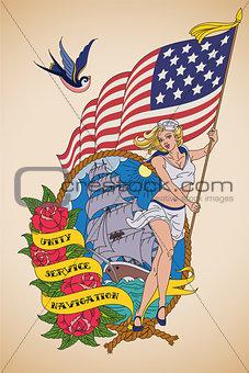 Old-school US Navy tattoo