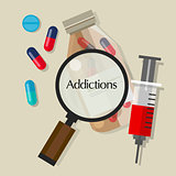 addictions drug addicts pills overdose vector illustration icon