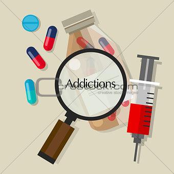 addictions drug addicts pills overdose vector illustration icon