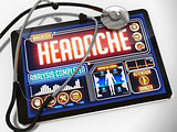 Headache on the Display of Medical Tablet.
