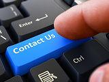 Contact Us - Written on Blue Keyboard Key.