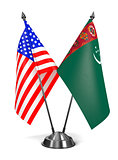 USA and Turkmenistan - Miniature Flags.