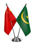 China and Mauritania - Miniature Flags.
