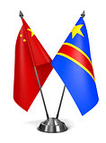 China and Democratic Republic Congo - Miniature Flags.