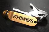 Fondness written on Golden Keyring.