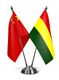 China and Bolivia - Miniature Flags.