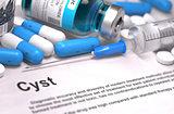 Diagnosis - Cyst. Medical Concept. 3D Render.