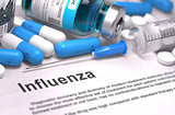 Diagnosis - Influenza. Medical Concept.