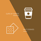 Coffee and cookie icon on brown background