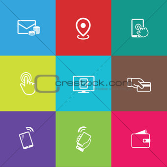 Business icon set, outline flat collection