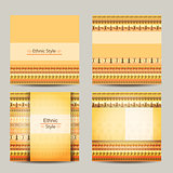 Set of cards with ethnic african design. Geometric backgrounds.