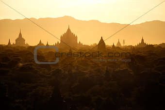Beautiful landscape view with ancient temples at Bagan, Myanmar