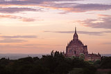 Scenic colorful sunset of ancient temple in Bagan