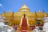 Scenic view of golden Shwezigon pagoda, Bagan, Myanmar