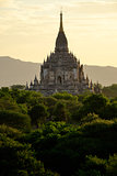 Scenic view of ancient Bagan temple during golden hour, Myanmar