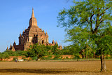Landscape view of Sulamani temple with field and farmer, Myanmar