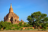 Landscape view of Sulamani temple and fields, Bagan, Myanmar