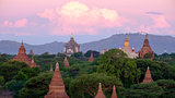 Landscape view of sunrise with ancient temples, Bagan, Myanmar